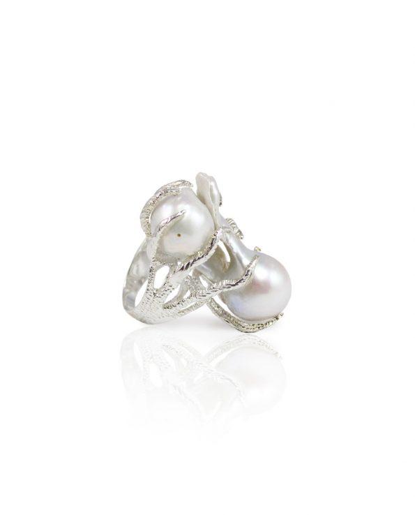 Silver Octopus Baroque Pearl Ring